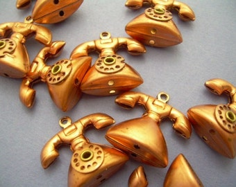 4 Copper Telephone Charms with Moving Dial - Vintage