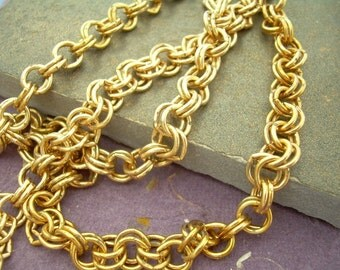 18 in Heavy Vintage Brass Double Cable Chain