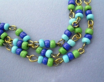 4 ft Glass Bead Chain - Vintage Turquoise and Green Glass Beads - Egyptian Revival