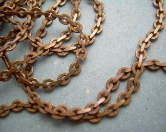 7 Ft Vintage Brass Flat Beading Chain