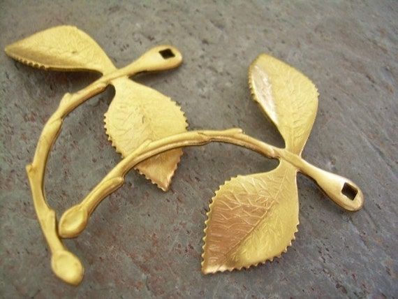 Large Brass Leaf Branch Findings (2)