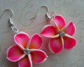 Pierced Earrings, Plumerias Flower, Hot Pink Plumerias Earrings