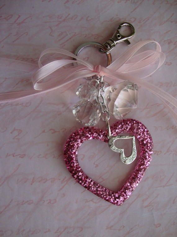 Keychain Purse Charms Lovely In Pink A Queenly Pink Heart