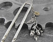 Steampunk Acorns Fall Hair Fork - Fall of Time in Your Locks by COGnitive Creations