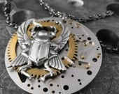 Flying Through the Time Maze Divine Mechanical Beetle Artful Hardware Pendant