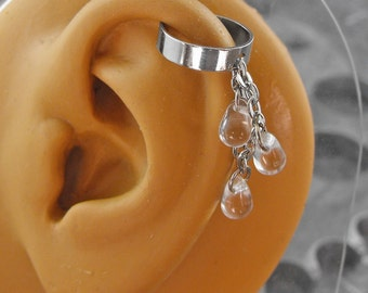 Clear Water Silver Ear Cuff - Dew Drops of Magic by COGnitive Creations