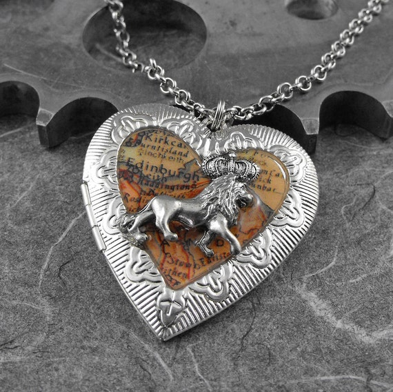 Scotland Lion Heart Locket Necklace - The Lion's Heart of Courage by COGnitive Creations