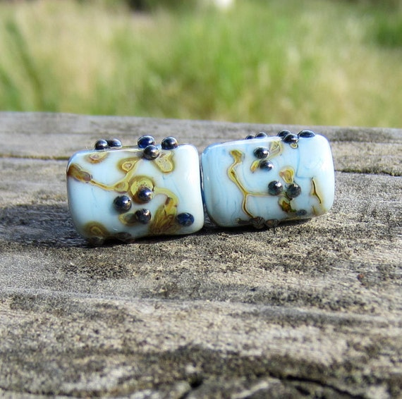 Blue Lampwork Glass Tube Beads vines and berries Free Shipping on combined order sra