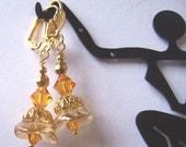 Golden Vintage Swarovski Crystal Flower Earrings