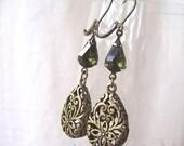 Vintage Tourmaline Green Jewel Teardrop Antique Bronze Earrings