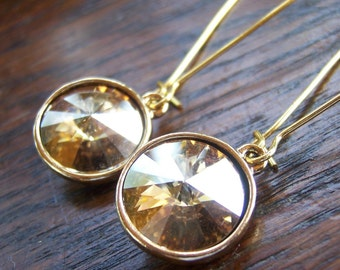 Close Out SALE // Sparkly Swarovski Rivoli Earrings // Golden Shadow