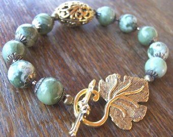 Jasper Ryolite Romantic Leaf Bracelet