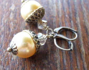 Gold Pearl Acorn Earrings