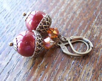 Berry Burgandy Swarovski Pearl Acorn Earrings