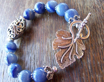 Blue Jeans Aventurine Leaf Bracelet