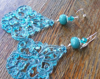 Blue Chandelier Earrings with Swarovski Crystals