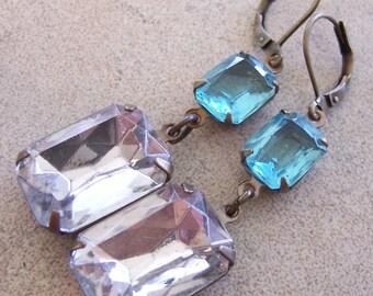Vintage Blue Jewel Crystal Earrings