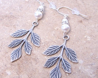 Antique Silver Leaf Earrings with Swarovski Pearls and Crystals