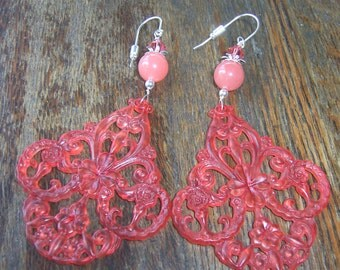 Vintage Lucite  Floral Chandelier Earrings with Swarovski Crystals