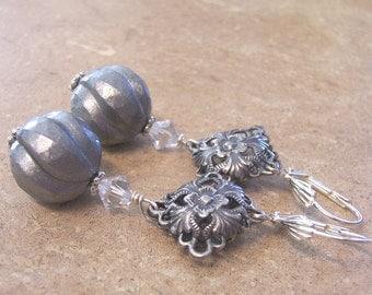 Vintage Beads Silver Earrings