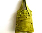 layered pleat tote - linen tote bag - pleated bag