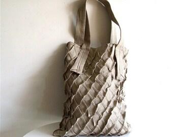 tote bag - NATURAL linen x pleat