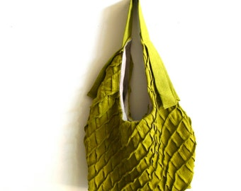 lax tote - chartreuse linen tote bag - textured bag