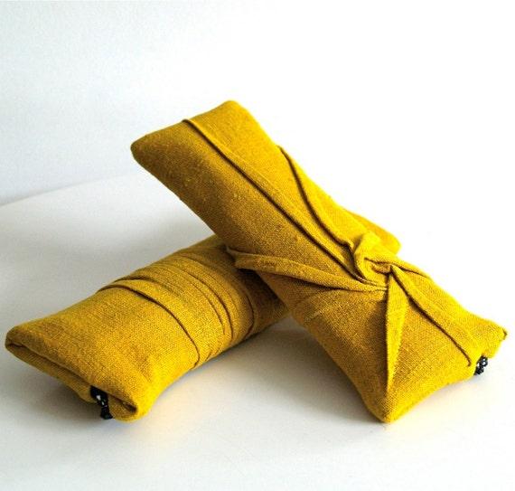 starburst zip  - goldenrod yellow clutch - textured clutch
