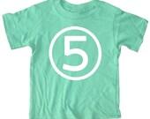 Kids CIRCLE Fifth Birthday T-shirt - Kelly Green