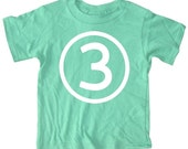 Kids CIRCLE Third Birthday T-shirt - Green