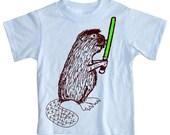 NEW - Beaver Strikes Back Lightsaber Light Blue Baby, Toddler or Kids T Shirt