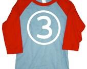 Kids CIRCLE Third Birthday Raglan T-shirt - Light Blue + Red