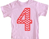 Kids CHEVRON STRIPE Fourth Birthday T-shirt - Light Pink
