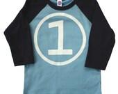 Boys FIRST BIRTHDAY T Shirt american apparel blue and navy raglan tee