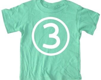 Kids CIRCLE Third Birthday T-shirt - Green