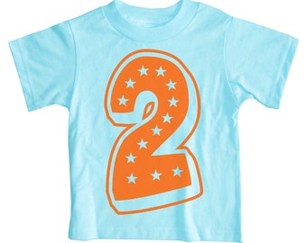 Second Birthday T Shirt - Superstar Aqua Blue 2nd Birthday Shirt childrens clothing orange turqouise