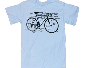 Mens BICYCLE T Shirt Diagram (Light Blue) unisex