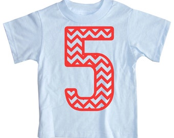 Kids CHEVRON STRIPE Fifth Birthday T-shirt - Light Pink