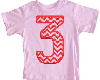 Kids CHEVRON STRIPE Third Birthday T-shirt - Light Pink