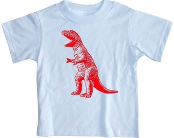 Roaring Red Dinosaur Baby or Toddler Short Sleeve Light Blue Dino T-Shirt in 6 Months, 12 Months, 18 Months, 2T, 4T or 6T