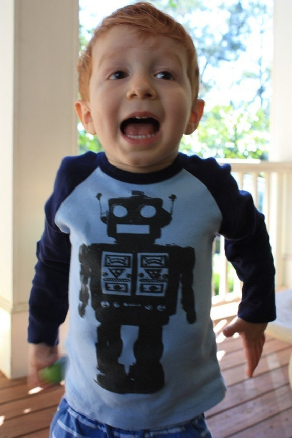 Futuristic Robot Baby or Toddler Boys Light Blue and Navy Long Sleeve Raglan Graphic T-Shirt