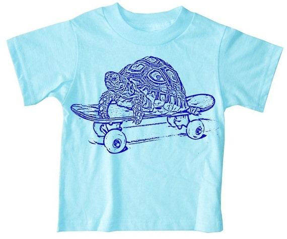 NEW - Skateboarding Turtle Funny Short Board Baby or Kid's Aqua Blue T-Shirt