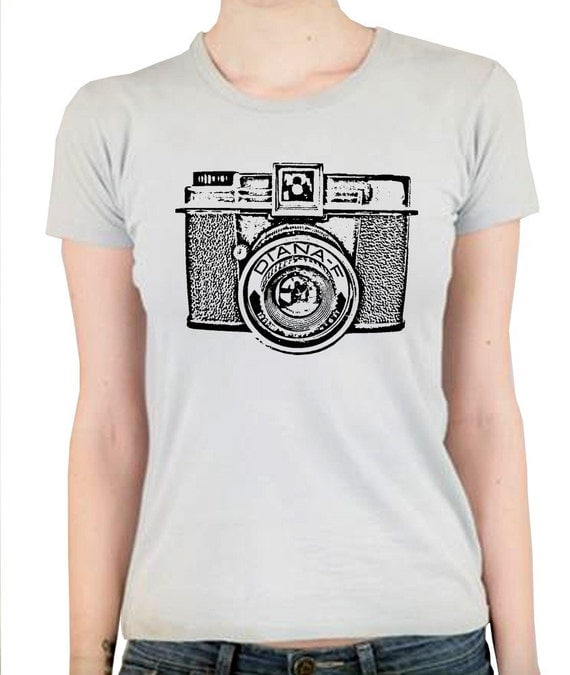 Diana Vintage Camera Print Graphic Tee Women's Silver Alternative Apparel T-Shirt in S, M, L, XL