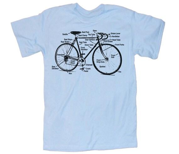 Mens BICYCLE T Shirt Diagram (Light Blue) unisex