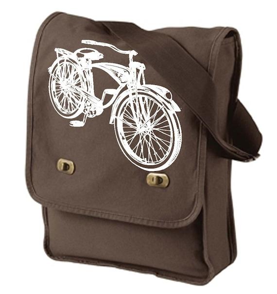 Vintage Schwinn Bicycle Old School Bike Retro Design Brown Messenger \/ Flight \/ Field Bag