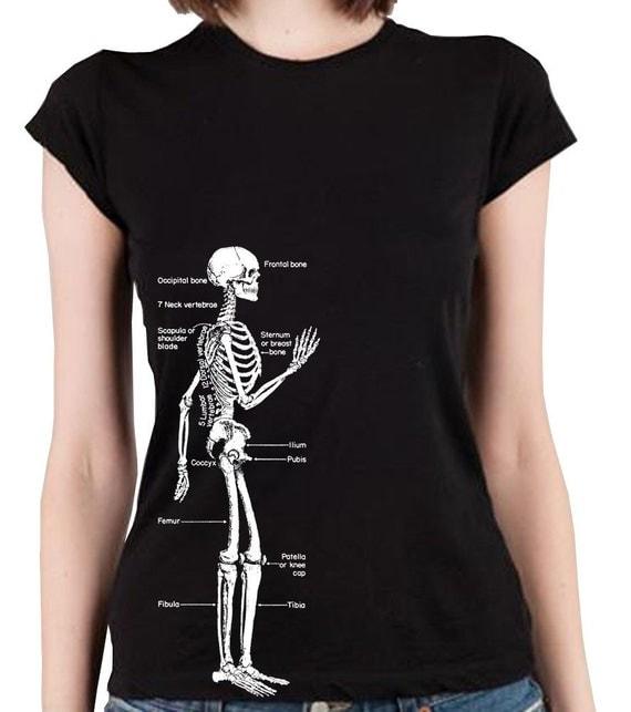 Skeleton Diagram Retro Design Screen Print Alternative Apparel Cap Sleeve Girls T-Shirt in Jet Black S, M, L, XL