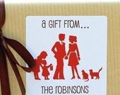 Personalized Gift Tags / Stickers / Labels - Family Silhouettes - Set of 40