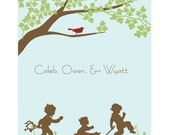 Personalized Nursery Art Prints for a Boy, Girl, or Siblings - Choose your Silhouette(s) - Kids at Play - 11x14