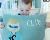 Personalized Placemat for Kids - Customized Boy Superhero - olliegraphic
