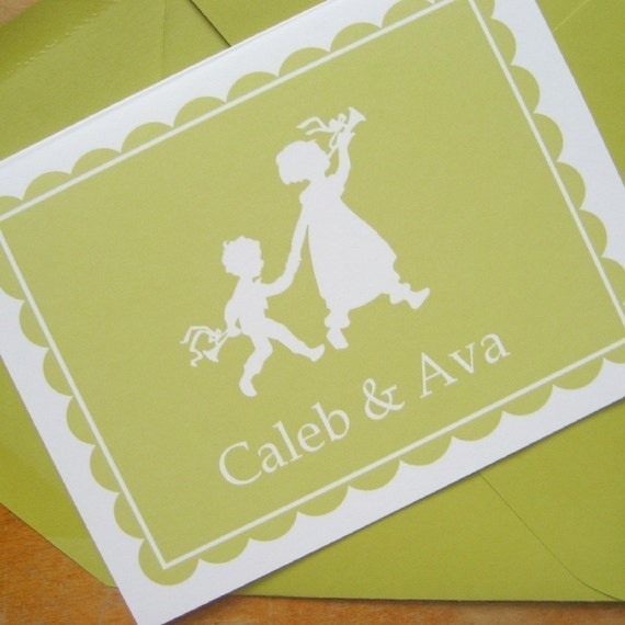 Personalized Folded Note Cards - Flashcard Style - Set of 12